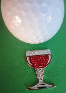 Wine Glass with Crystals Ball Marker