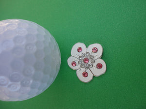 Flower White with Crystals Ball Marker golf ball pic