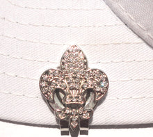 Fleur-de-lis with Clear Crystals Ball Marker hat brim