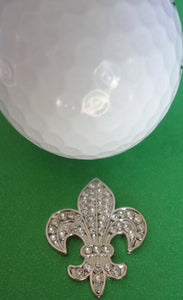 Fleur-de-lis with Clear Crystals Ball Marker golf ball pic