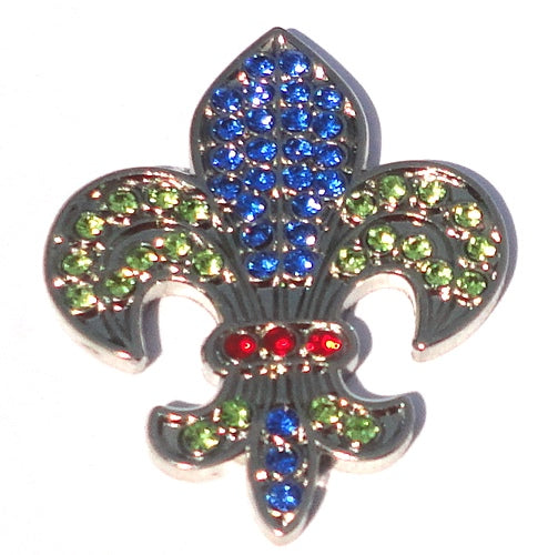 Fleur-de-lis with Colorful Crystals Ball Marker