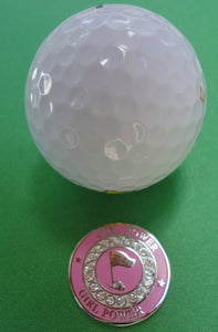 Girl Power w/ Crystals Ball Marker golf ball pic