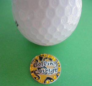 Golfing Cougar with Crystals Ball Marker golf ball pic