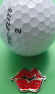 Hot Lips Red Ball Marker W/Crystals golf ball pic