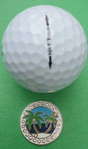 Island Paradise w/ Crystals Ball Marker golf ball pic
