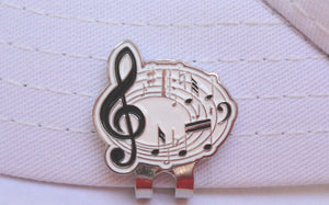 Music Notes Ball Marker hat brim pic