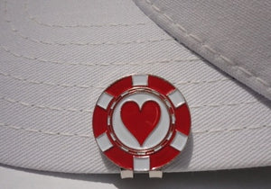 Poker Chip Hearts Ball Marker hat brim pic 1