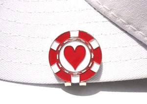 Poker Chip Hearts Ball Marker hat brim pic 2
