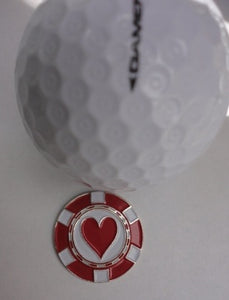 Poker Chip Hearts Ball Marker golf ball pic