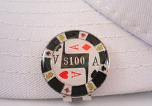 $100 Poker Chip Ball Marker hat brim pic