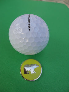 Polar Bear with Yellow Background Ball Marker golf ball pic 1