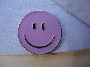 Smiley Face Purple Ball Marker hat brim pic