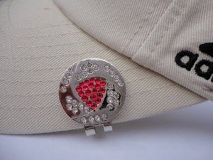 Crystal Red & White Ball Marker hat brim pic