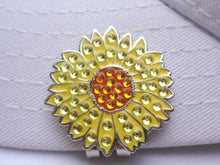 Sunflower w/Crystals Ball Marker hat brim pic