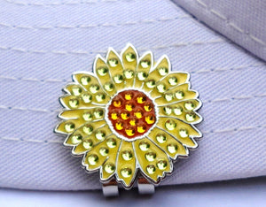 Sunflower w/Crystals Ball Marker hat brim pic 2