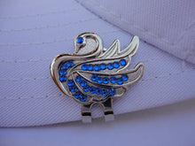Swan with Blue Crystals Ball Marker