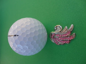 Swan with Pink Crystals Ball Marker golf ball pic