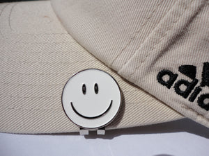 Smiley Face White Ball Marker hat brim pic