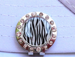 Zebra Stripes w/ Crystals Ball Marker hat brim pic 2