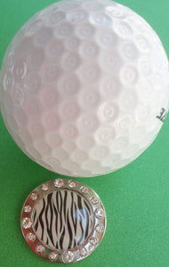 Zebra Stripes w/ Crystals Ball Marker golf ball pic