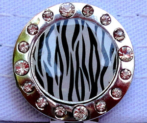 Zebra Stripes w/ Crystals Ball Marker hat brim pic 1