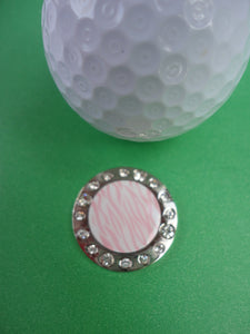 Pink Zebra Stripes W/ Crystals Ball Marker golf ball pic 2