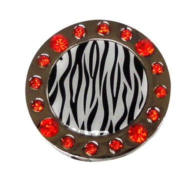 Zebra Stripes W/ Orange Crystals Ball Marker