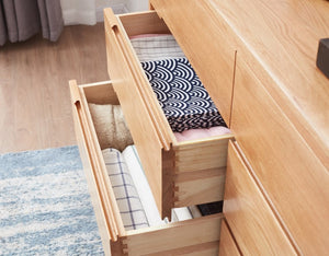 Seattle Natural Solid Oak 8 Drawers Chest