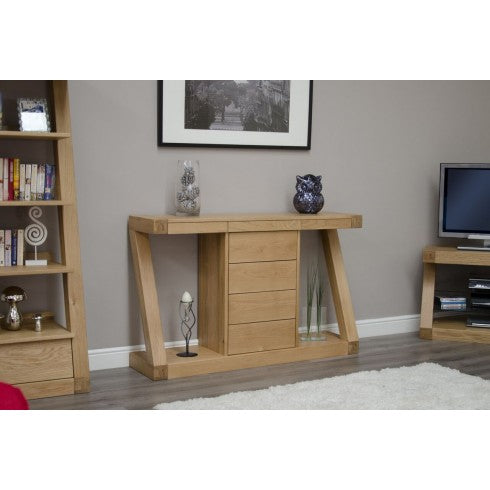 Zara Designer Oak Large Hall Table With Drawers
