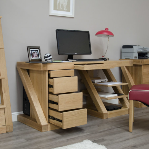 Zara Oak Designer Large Computer Desk