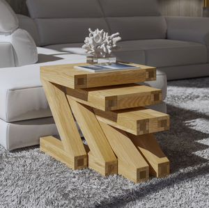 Zara Designer Oak Nest of Tables - oak-furniture-store-sofa