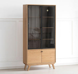 BLACK STONE NEUTRAL OAK DISPLAY/BOOKCASE CABINET (Coming Soon!) - Oak Furniture Store & Sofas