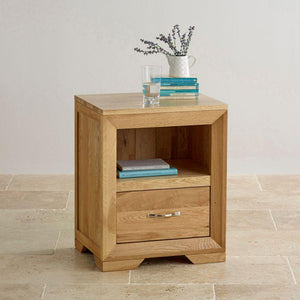 Chamfer Natural Solid Oak 1 Drawer Bedside Table - Oak Furniture Store & Sofas