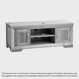 Chamfer Natural Solid Oak 2 Doors TV Unit - Oak Furniture Store & Sofas