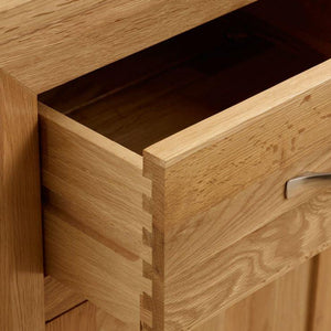 Chamfer Natural Solid Oak 2 Drawers Bedside Table - Oak Furniture Store & Sofas