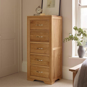 Chamfer Natural Solid Oak 5 Drawers Tallboy - Oak Furniture Store & Sofas