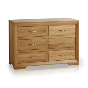 Chamfer Natural Solid Oak 6 Drawers Chest - Oak Furniture Store & Sofas