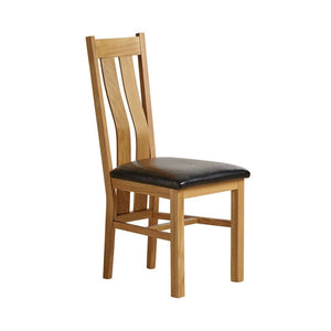 Chamfer Natural Solid OAK Dining Chair Leather Pad - Oak Furniture Store & Sofas