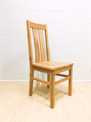 Chamfer Natural Solid OAK Dining Chair Oak Padding - Oak Furniture Store & Sofas