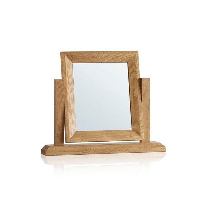 Chamfer Natural Solid Oak Dressing Table Mirror