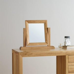 Chamfer Natural Solid Oak Dressing Table Mirror - Oak Furniture Store & Sofas