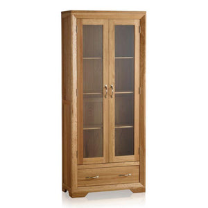 Chamfer Natural Solid Oak Glazed Display Cabinet - Oak Furniture Store & Sofas