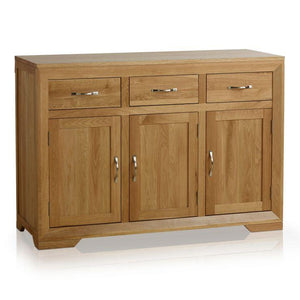 Chamfer Natural Solid Oak Large Sideboard - Oak Furniture Store & Sofas