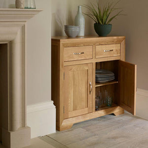Chamfer Natural Solid Oak Small Sideboard - Oak Furniture Store & Sofas