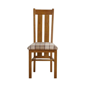Chamfer Rastic Solid OAK Dining Chair Fabric Pad (Pre Order) - Oak Furniture Store & Sofas