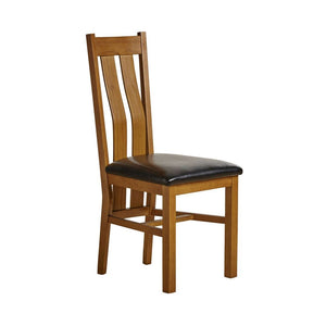 Chamfer Rastic Solid OAK Dining Chair Leather Pad - Oak Furniture Store & Sofas