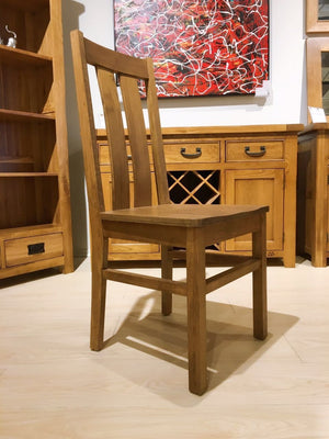 Chamfer Rastic Solid OAK Dining Chair Oak Pad - Oak Furniture Store & Sofas