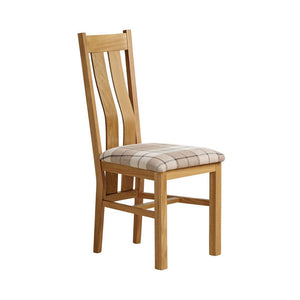 Chamfer Solid OAK Dining Chair Fabric Pad (Pre-Order) - Oak Furniture Store & Sofas