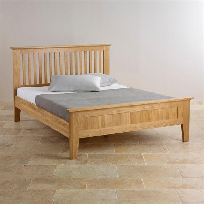 Chamfer Solid Oak Queen Size Bed Frame