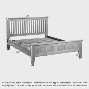 Chamfer Solid Oak Queen Size Bed Frame - Oak Furniture Store & Sofas